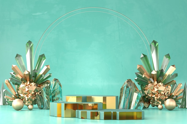 제품 디스플레이, 3d 렌더링 광고에 대 한 에메랄드와 앰버 크리스탈 추상 골드 럭셔리 무대 플랫폼.