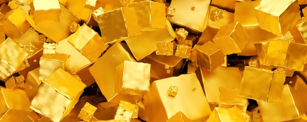 Abstract gold metallic background from cubes, panoramic image