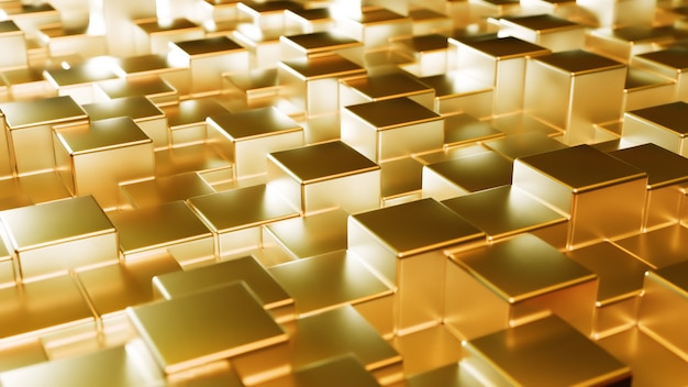 Abstract gold metallic background from cubes. wall of a metal cube.