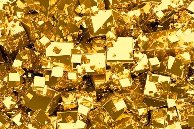 큐브에서 추상 금 금속 배경입니다.