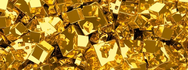 Abstract gold metallic background from cubes.