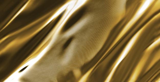 背景に抽象的なゴールドサテンの絹のような布、折り目波状の折り目が付いたファブリックテキスタイルドレープ。柔らかい波で、風に揺れています。