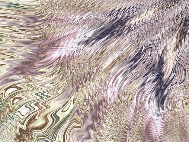 Abstract gold, silver and pink fractal lines and waves.