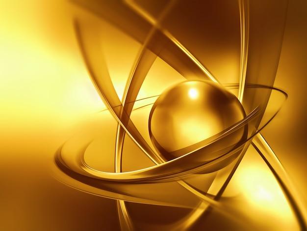 추상적 인 황금 원자는 과학적 배경으로 가까이