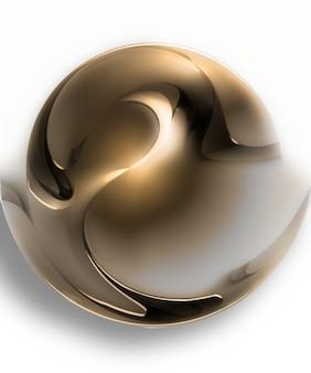 白い背景で隔離の抽象的な金色のボール