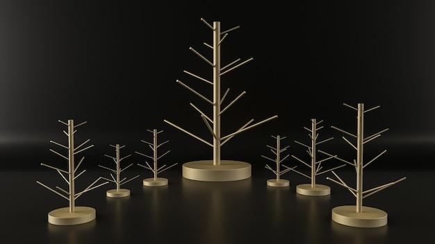 검정색 배경에 추상적인 황금 크리스마스 트리 기하학 모양