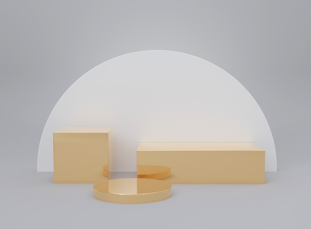 Abstract golden color geometric, podium for products, cosmetics, 3d render