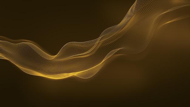 Abstract golden glitter waves background. dynamic geometric technology design element. 3d rendering.