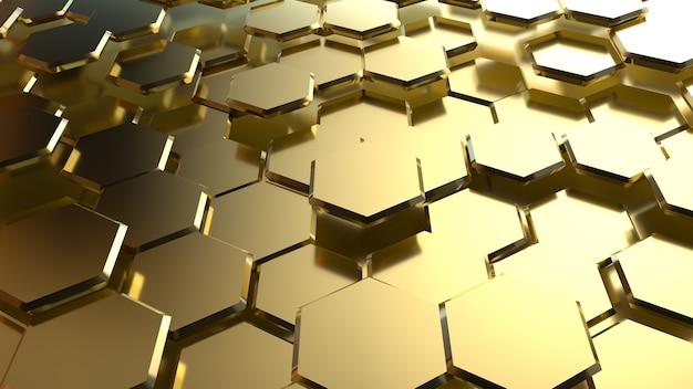 추상적 인 황금 육각형 배경