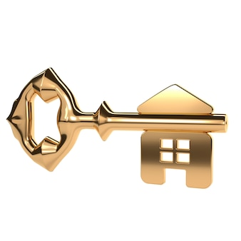 Abstract golden key with a shiny surface and home.
