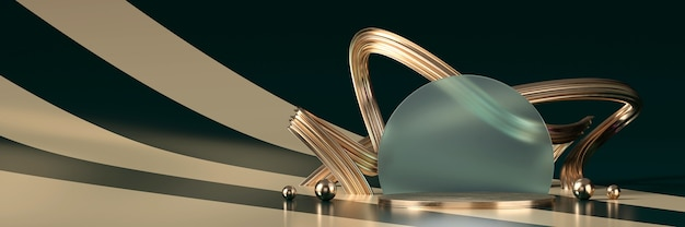 Abstract golden luxury stage for product display, 3d rendering