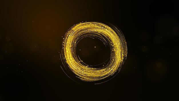 꼬리와 반짝이 입자, 원 모양으로 추상 황금 입자 배경.
