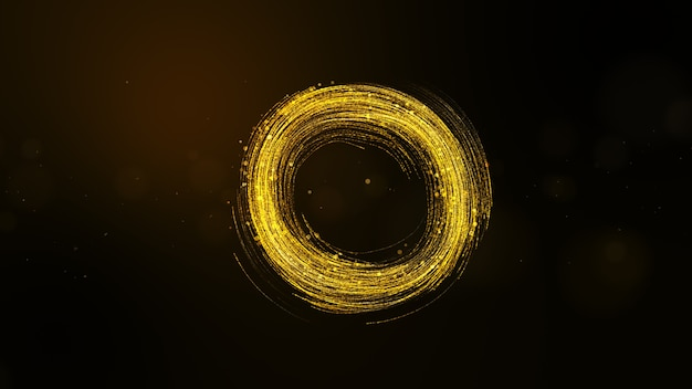 Abstract golden particles background with tail and glitter particles, circle shape.