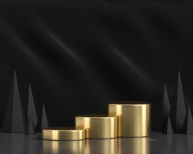 Абстрактная золотая платформа подиум 3d рендеринг фона
