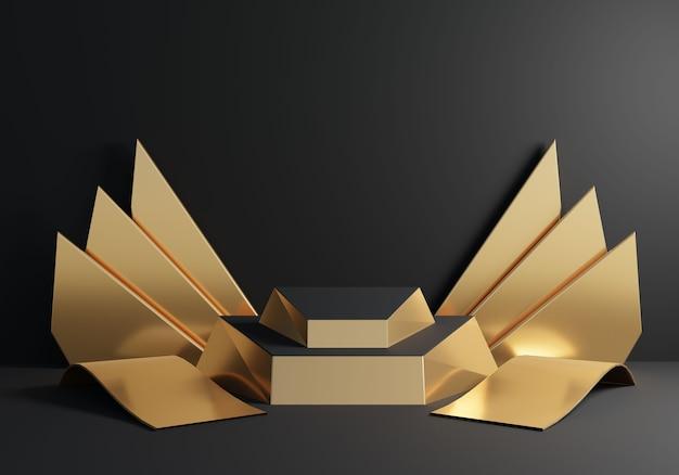 黒の背景に金色の飛行機の装飾と抽象的な金色の表彰台。