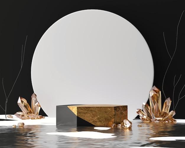 크리스탈 3d 렌더링 배경이 있는 추상 황금 제품 디스플레이 무대 연단