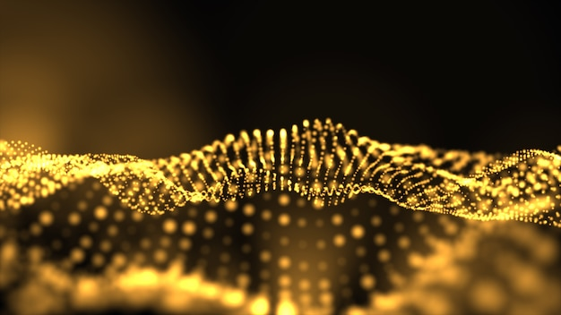 Abstract golden shape and light particles in organic motion