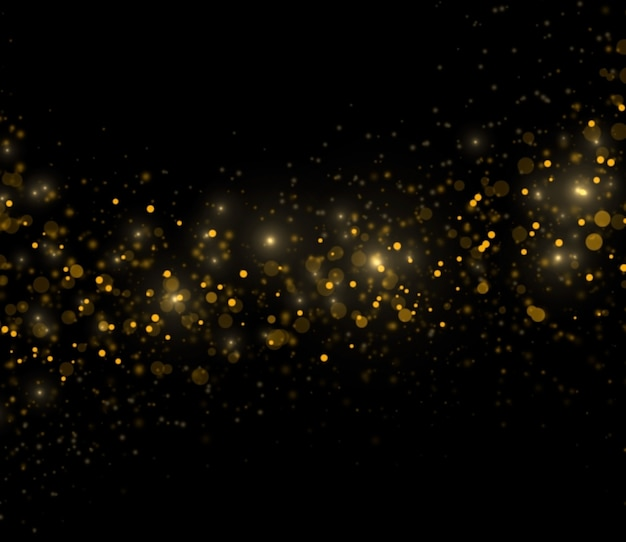 Abstract golden sparkles on black background