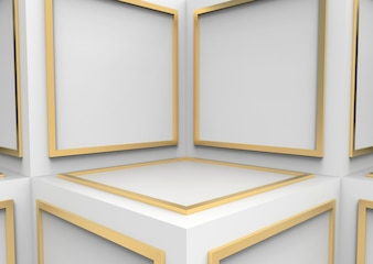Abstract golden square shape block on white cube boxes cornor wall background.