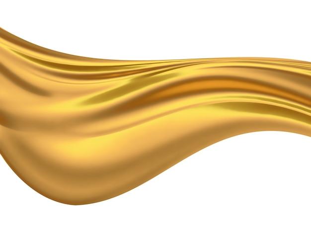 白い背景の上の抽象的な黄金の波