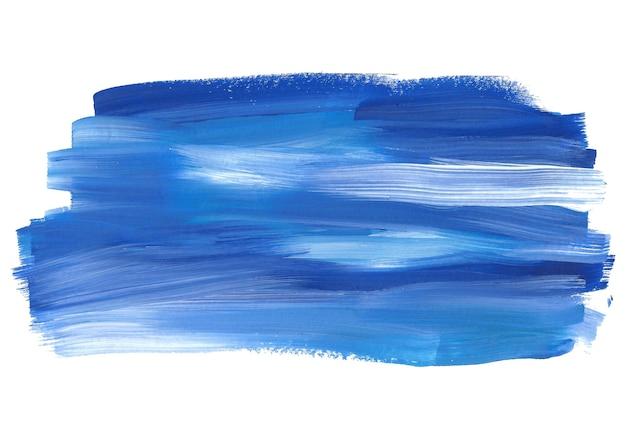抽象的なガッシュの背景の青と白のブラシストロークの描画は、白い色のテクスチャで分離
