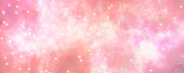 輝く星の背景を持つ抽象的なグラデーションピンクの空カラフルなユニバーサルコンセプト