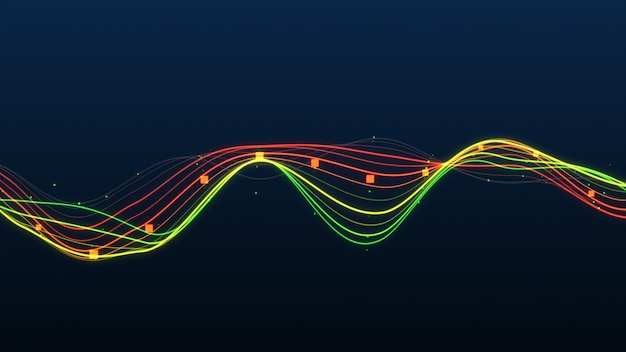 Abstract graph glowing lines statistics.