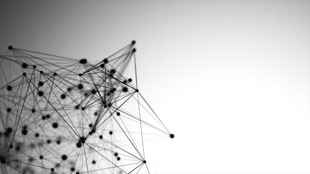 포인트, 선 및 연결, 인터넷 기술로 구성 된 추상적 인 그래픽.
