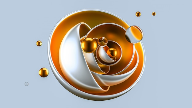 Abstract gray background with balls, metal, gold. 3d rendering.