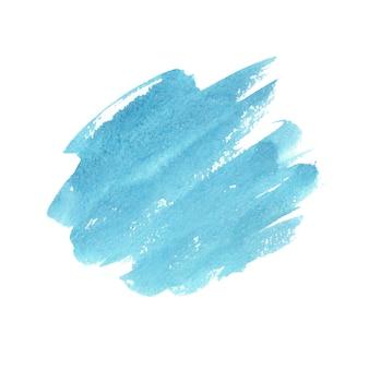 白に抽象的な緑と青の水彩画。紙に色付きの水しぶき。手描きイラスト。