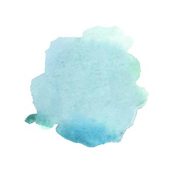 白に抽象的な緑と青の水彩画。紙に色付きの水しぶき。
