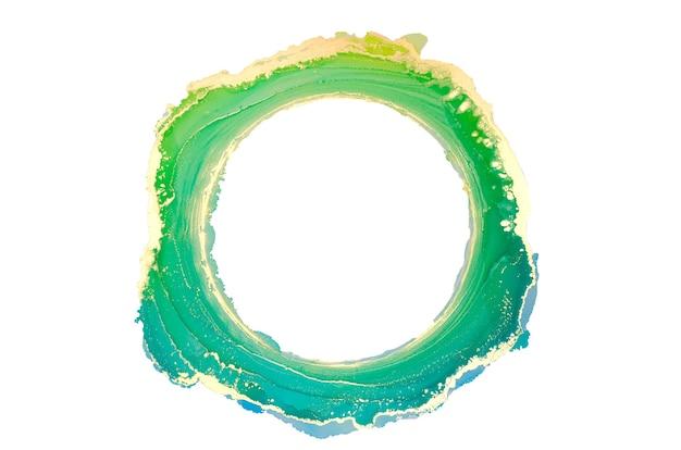 抽象的な緑と金の水彩画、円、古いフレーム、白で隔離の筆筆ストローク、創造的なイラスト、ファッションの背景、カラーパターン、ロゴ。