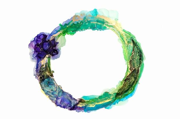 抽象的な緑、青、金の水彩画、円、古いフレーム、白で隔離のインクブラシストローク、創造的なイラスト、ファッションの背景、色パターン、ロゴ。