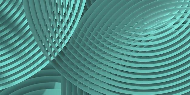 抽象的な緑の円形の微妙な幾何学模様。 3 dレンダリングのイラスト。