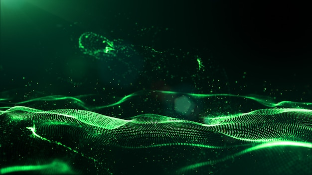 Abstract green color digital particles wave with dust and light background