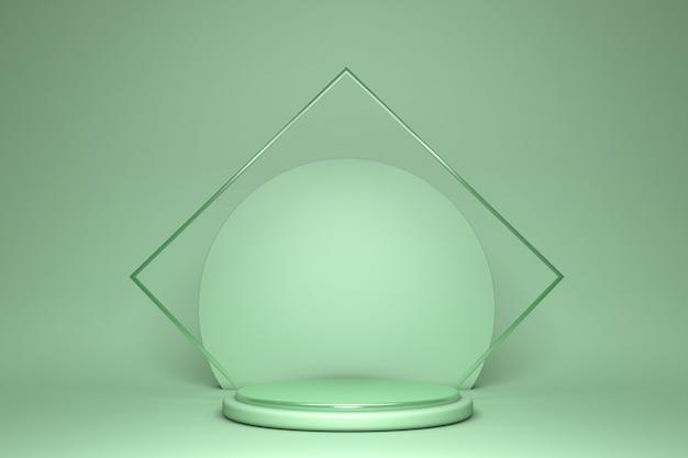 抽象的な緑のシリンダー台座表彰台ライトパステル空の3dレンダリング幾何学的形状製品ディスプレイプレゼンテーション