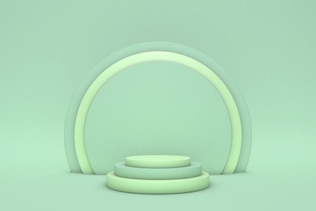 抽象的な緑のシリンダー台座表彰台、ライトパステル空。 3dレンダリングの幾何学的形状のステップ、製品ディスプレイのプレゼンテーション。