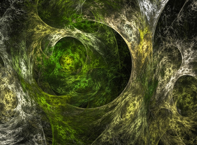 Abstract green floral fractal background on the black