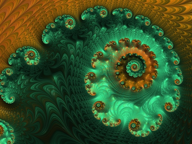 Abstract green and orange textured spiral fractal.