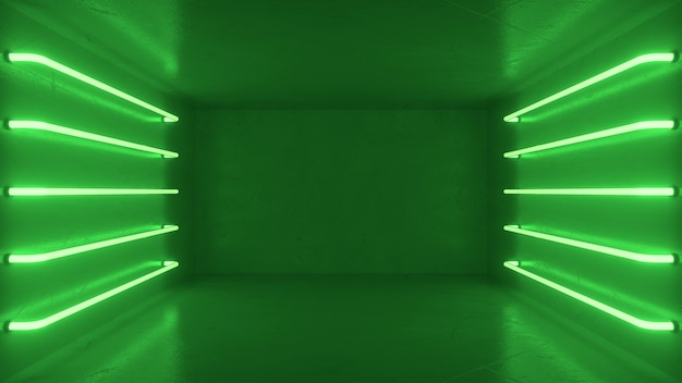 Abstract green room interior with green glowing neon lamps, fluorescent lamps.