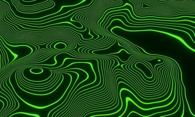 추상 녹색 지형 등고선입니다. 3d 그림입니다.