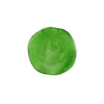 Абстрактная зеленая акварель окрашенный круг, изолированные на белом фоне