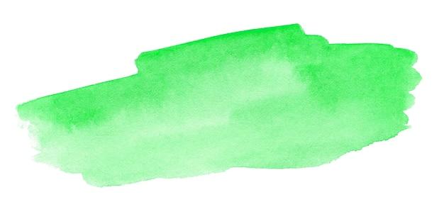白い背景の上の抽象的な緑の水彩スプラッシュストローク