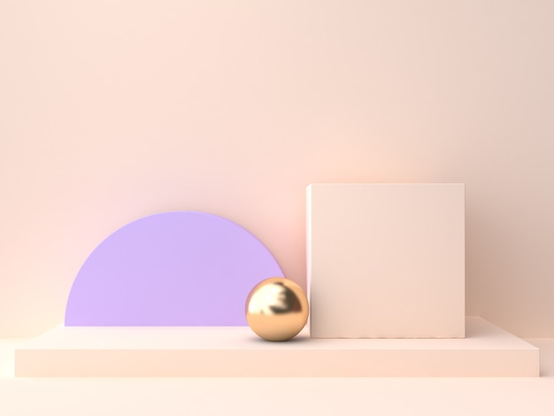 기하학적 모양 빈 연단 크림 보라색 보라색 벽 장면 3d 렌더링의 추상 그룹