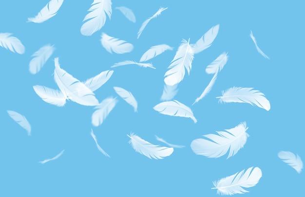 Абстрактная группа перьев белой птицы, плавающих в небе