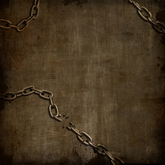 Abstract grunge background with broken chains