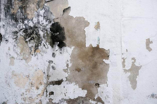 抽象的なグランジの壁と背景湿気によって表面に黒い汚れがある古いセメントの壁。亀裂や引っかき傷のある壁の表面の剥離