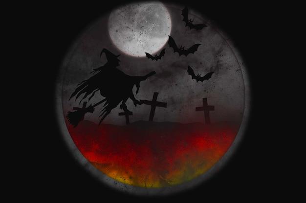 보름달 밤에 마녀와 박쥐와 추상 할로윈 배경