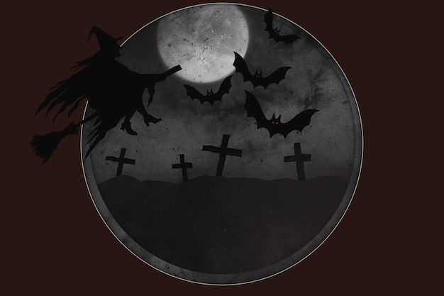초승달에 대 한 마녀 묘지와 추상 할로윈 배경