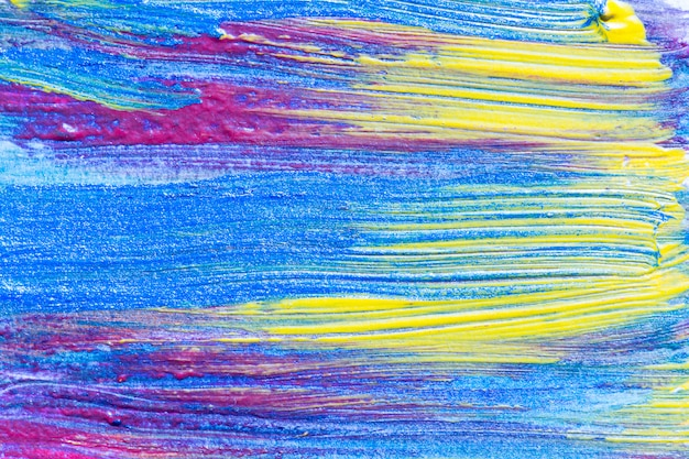 Abstract hand drawn acrylic painting creative art background.closeup shot of brushstrokes colorful acrylic paint on canvas with brush strokes overlap of color texture. modern contemporary art .